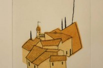 Cotignac – drypoint and chine collé