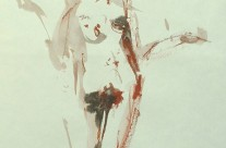 Standing nude – indian ink & red conté