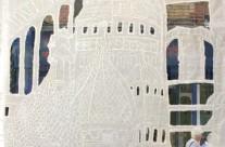 Urban scrawl – daylight (detail 1) – polymer on muslin