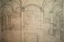 Canterbury cathedral – from south transept – pencil